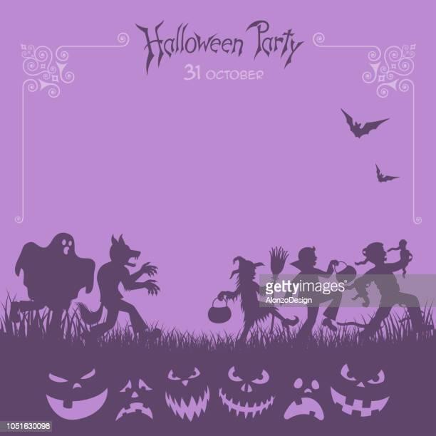 ilustrações de stock, clip art, desenhos animados e ícones de halloween trick or treaters - lobisomem