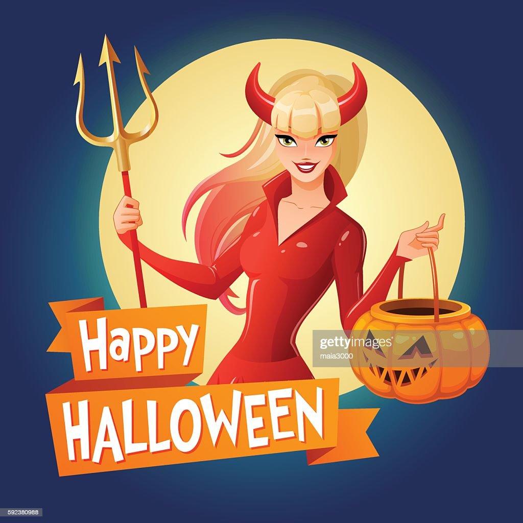 Halloween vector card. Woman in devil costume with pumpkin basket.