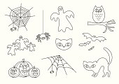 Halloween Vector Icon Set in Outline