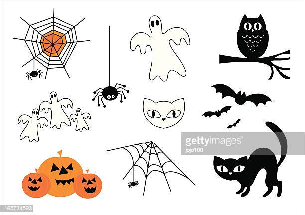 halloween vector icon set - spider stock illustrations
