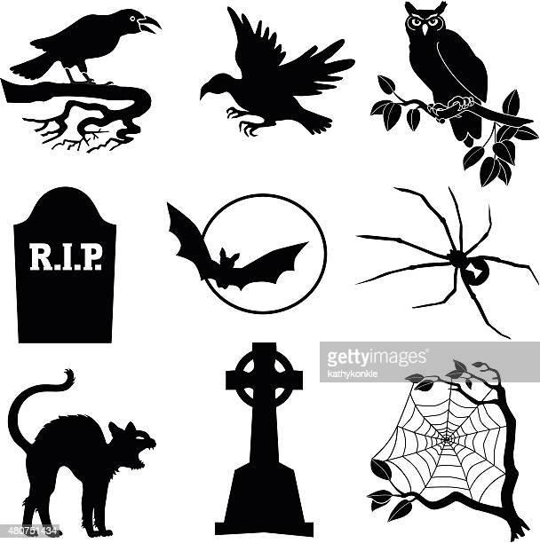 illustrations, cliparts, dessins animés et icônes de halloween icônes vectorielles en noir et blanc - chat noir