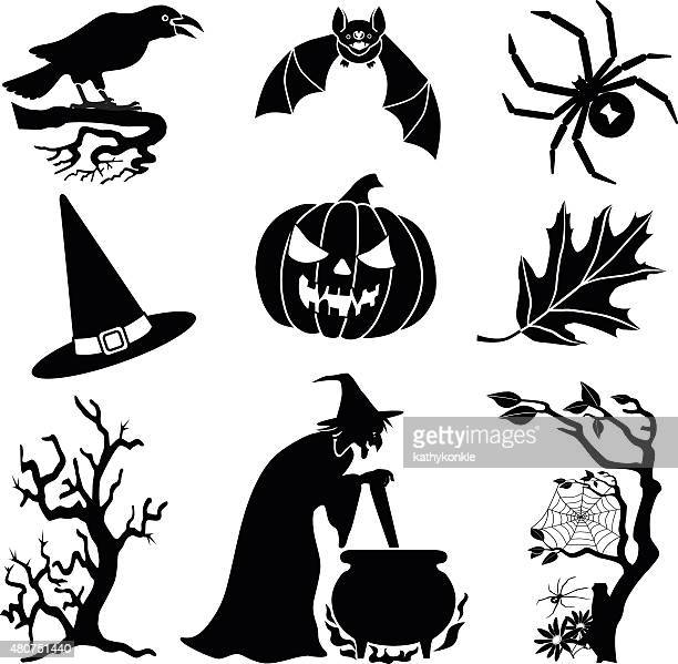 halloween vector icons in black and white - cauldron stock illustrations, clip art, cartoons, & icons