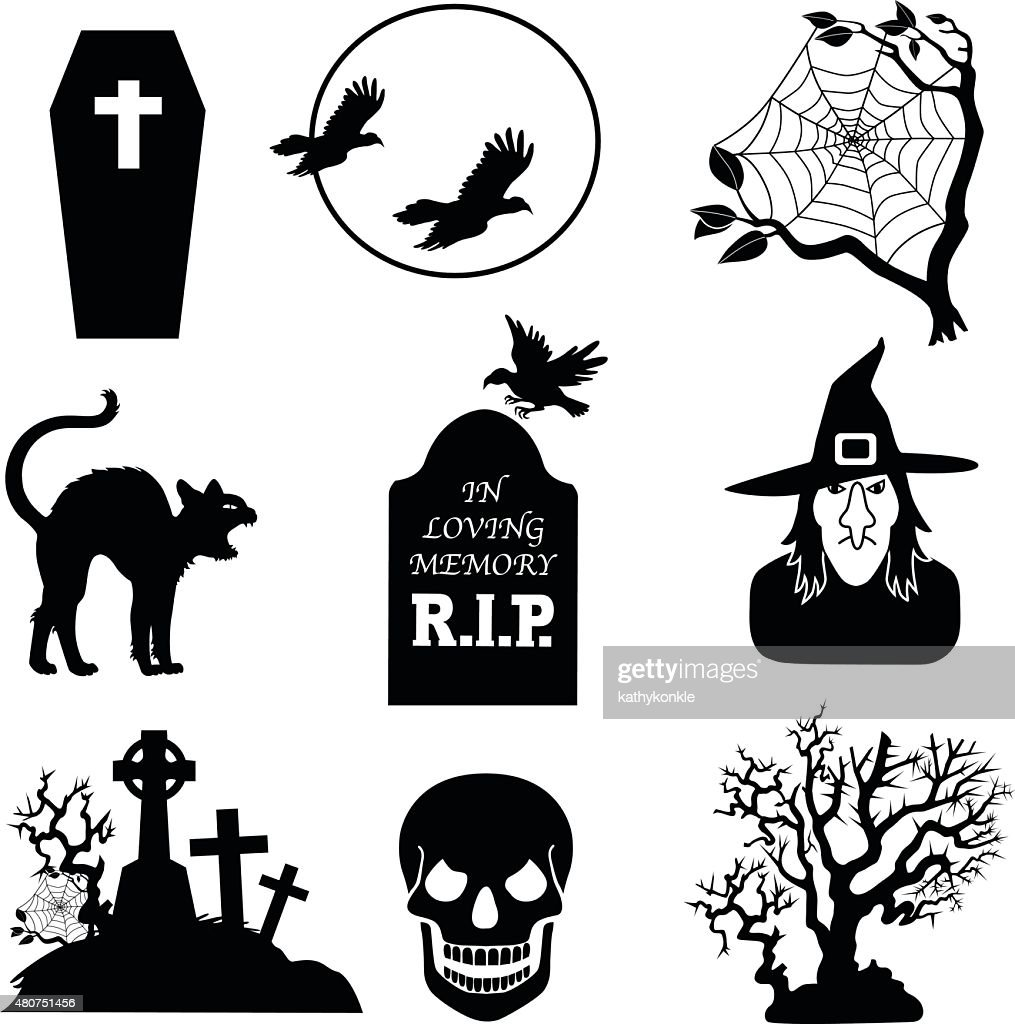 Halloween Vector Black And White.Halloween Vector Icons In Black And White Stock Illustration Getty