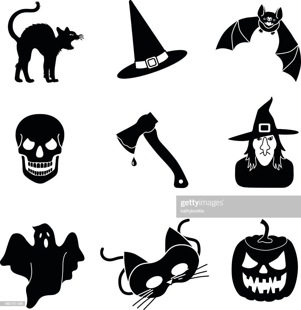 Halloween vector icons in black and white
