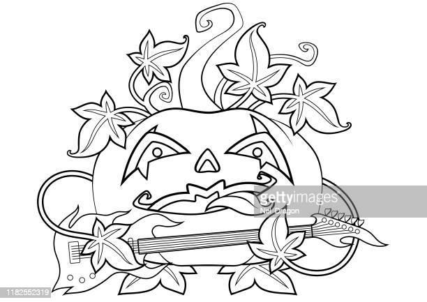 halloween - bass instrument stock illustrations, clip art, cartoons, & icons