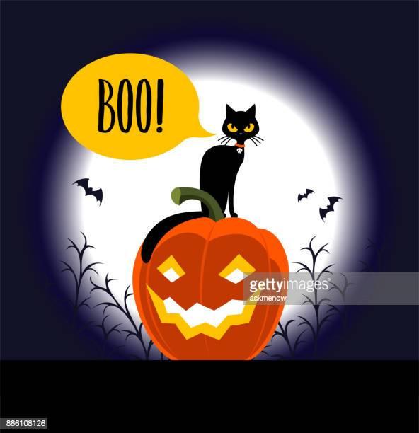 halloween - pumpkin cats stock illustrations