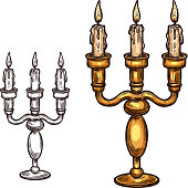 Halloween vector sketch icon candle in candlestick