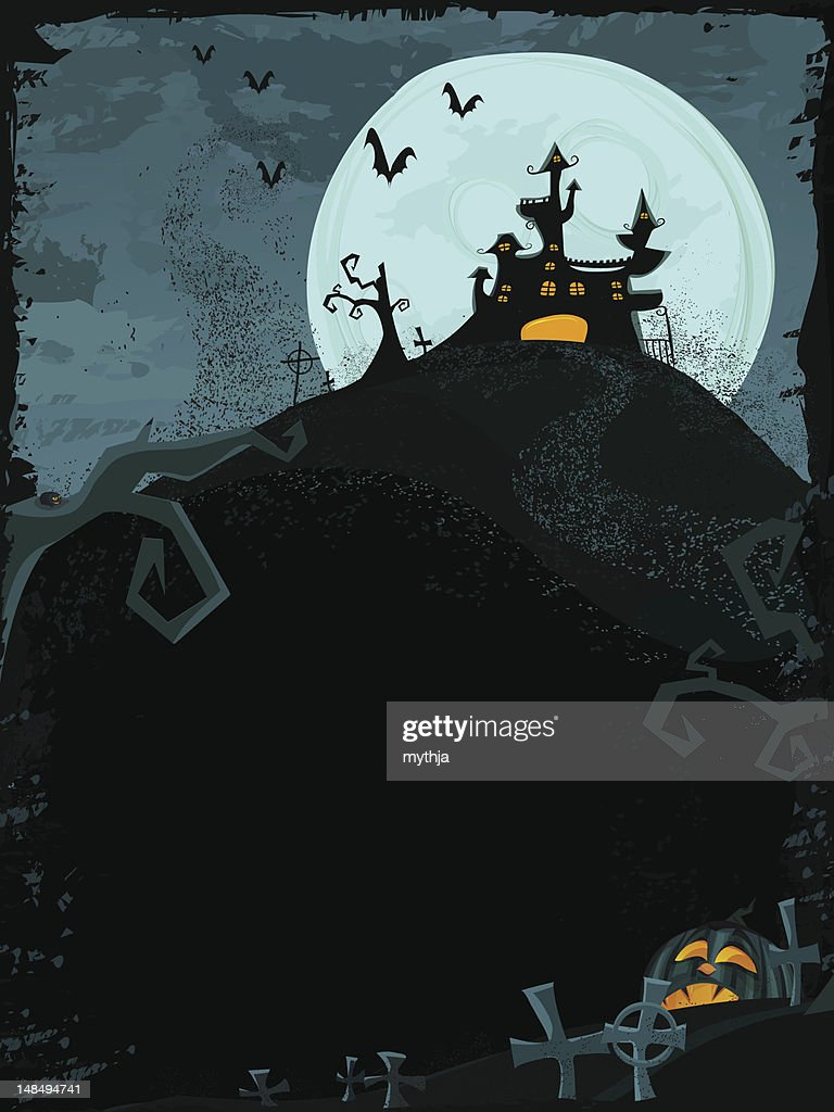 Halloween vector template with haunted castle