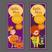 halloween vertical banner with clown costume kid