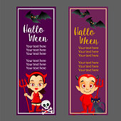 halloween vertical banner with couple devil