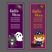 halloween vertical banner with lovable cartoon character