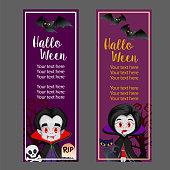 halloween vertical banner with vampire dracula