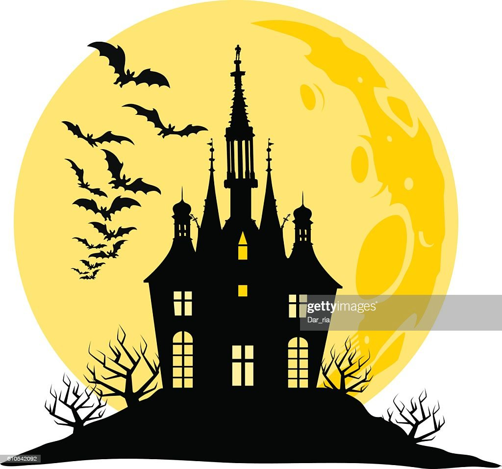 Halloween view of castle, moon, bats and hill silhouette illustration.