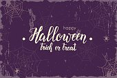 Halloween vintage background with hand made lettering, Sketch. Halloween banner, flyer, brochure. Advertising
