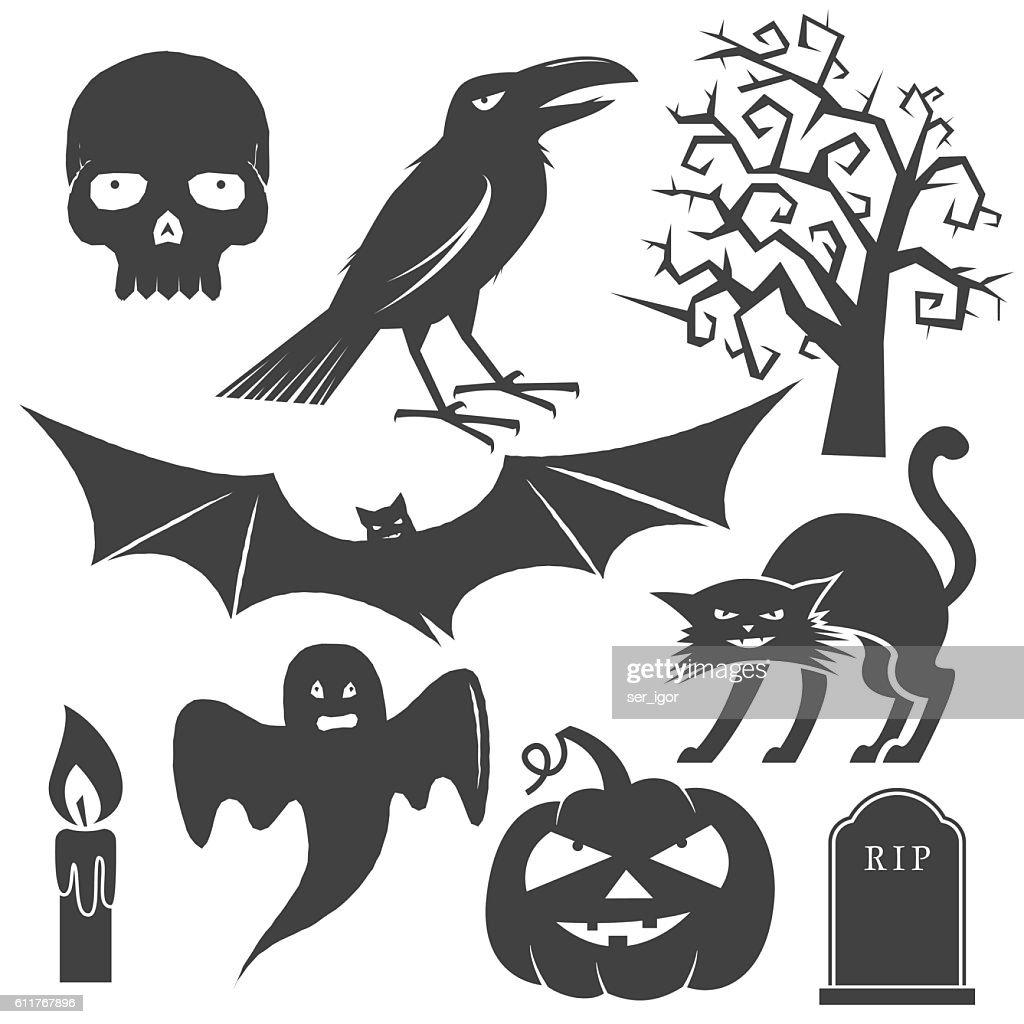 Halloween vintage icon, emblem or label.
