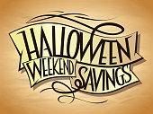Halloween weekend savings sale vector poster