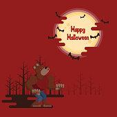 Halloween werewolf howling under the moon