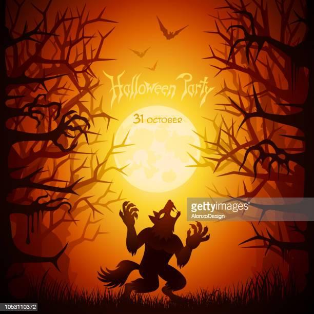 ilustrações de stock, clip art, desenhos animados e ícones de halloween werewolf - lobisomem
