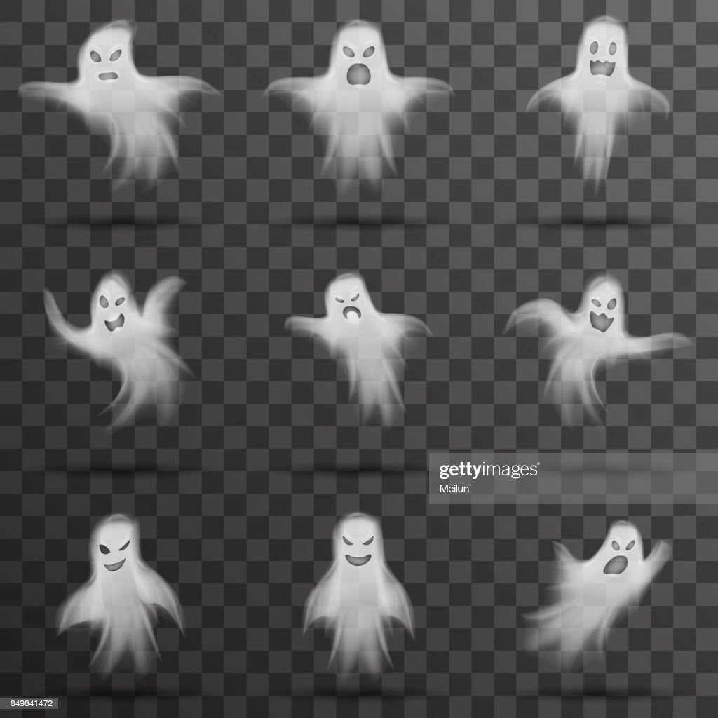 Halloween White Scary Ghost Isolated Template Transparent Night ...