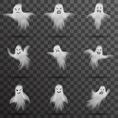 Halloween white scary ghost isolated template transparent night background vector illustration