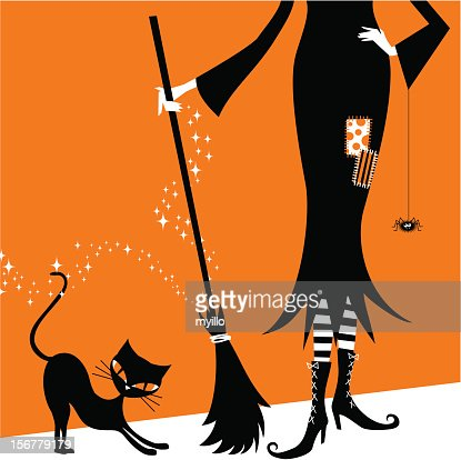 Halloween Witch And Black Cat Retro Vintage Illustration Vector ...
