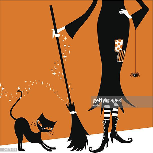 halloween witch and black cat retro vintage illustration vector - broom stock illustrations, clip art, cartoons, & icons