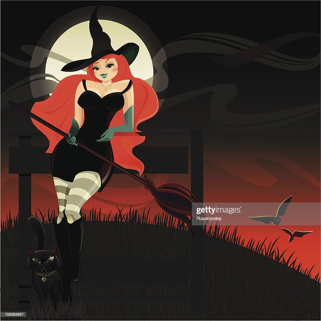 Halloween Witch and Black Cat : Vektorgrafik