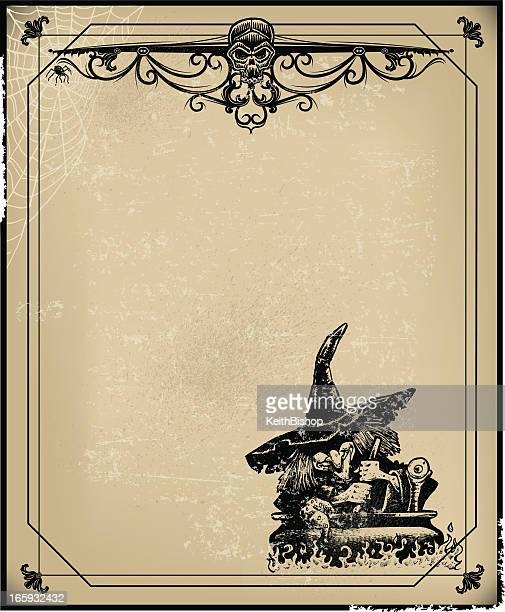 halloween witch & cauldron background with skull - cauldron stock illustrations, clip art, cartoons, & icons