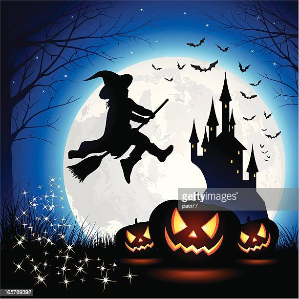 ilustraciones, imágenes clip art, dibujos animados e iconos de stock de halloween bruja niños - bruja
