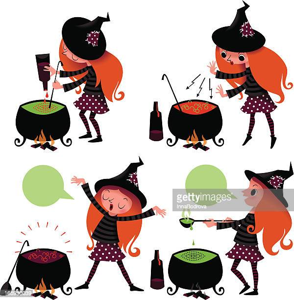 halloween. witch cooking the potion. - magical equipment stock illustrations, clip art, cartoons, & icons