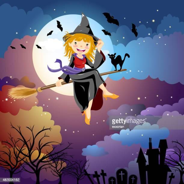 ilustraciones, imágenes clip art, dibujos animados e iconos de stock de halloween disfraz de brujas - bruja