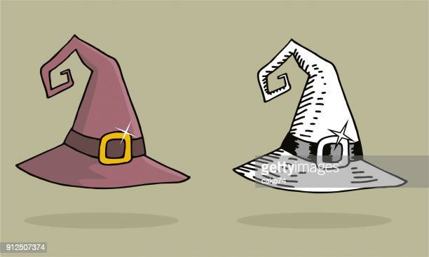 halloween witch hat illustrations - wizard stock illustrations, clip art, cartoons, & icons