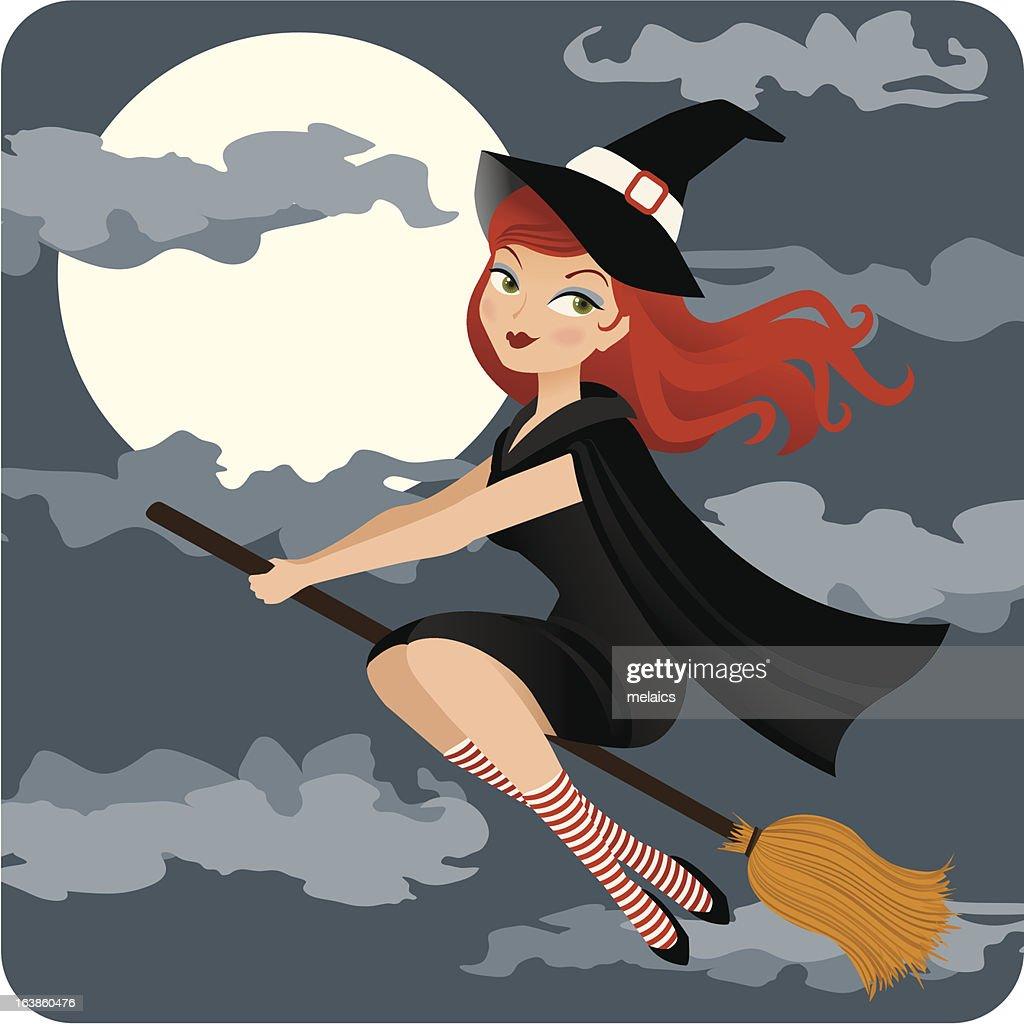 Halloween witch illustration in the dark