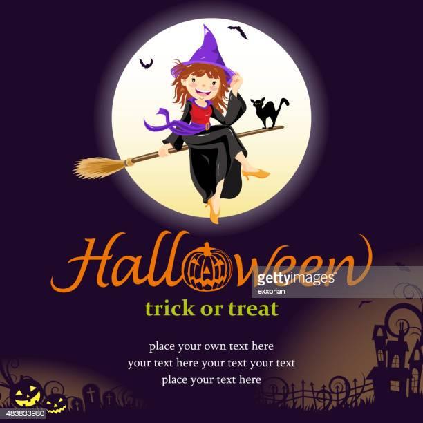 ilustraciones, imágenes clip art, dibujos animados e iconos de stock de halloween bruja invitación - bruja