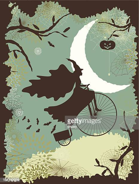 ilustraciones, imágenes clip art, dibujos animados e iconos de stock de halloween bruja riding a bike - chuwy