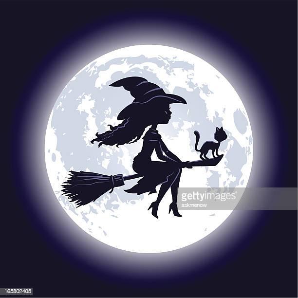 ilustraciones, imágenes clip art, dibujos animados e iconos de stock de halloween bruja silueta - bruja