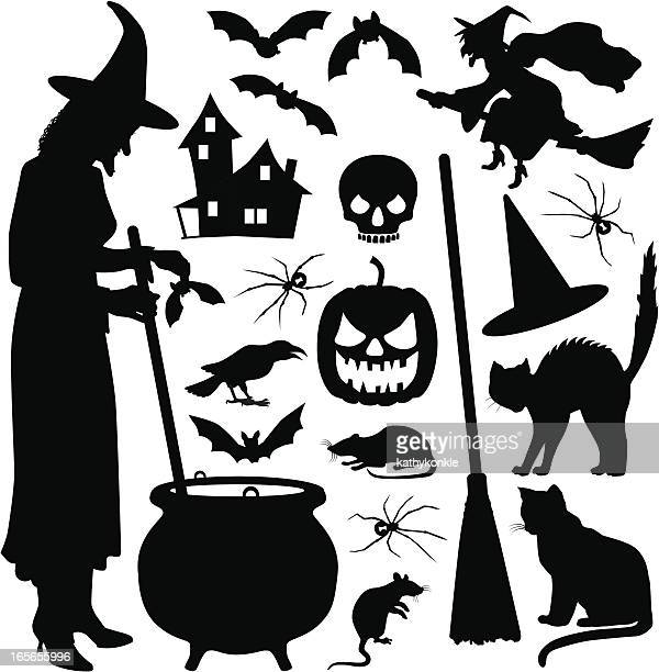 halloween witch - black widow spider stock illustrations, clip art, cartoons, & icons