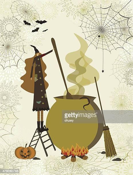 ハロウィーン魔女 - 大釜点のイラスト素材/クリップアート素材/マンガ素材/アイコン素材