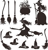 Halloween witches with brooms and hats.