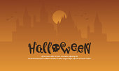 Halloween with castle style background vector illustration