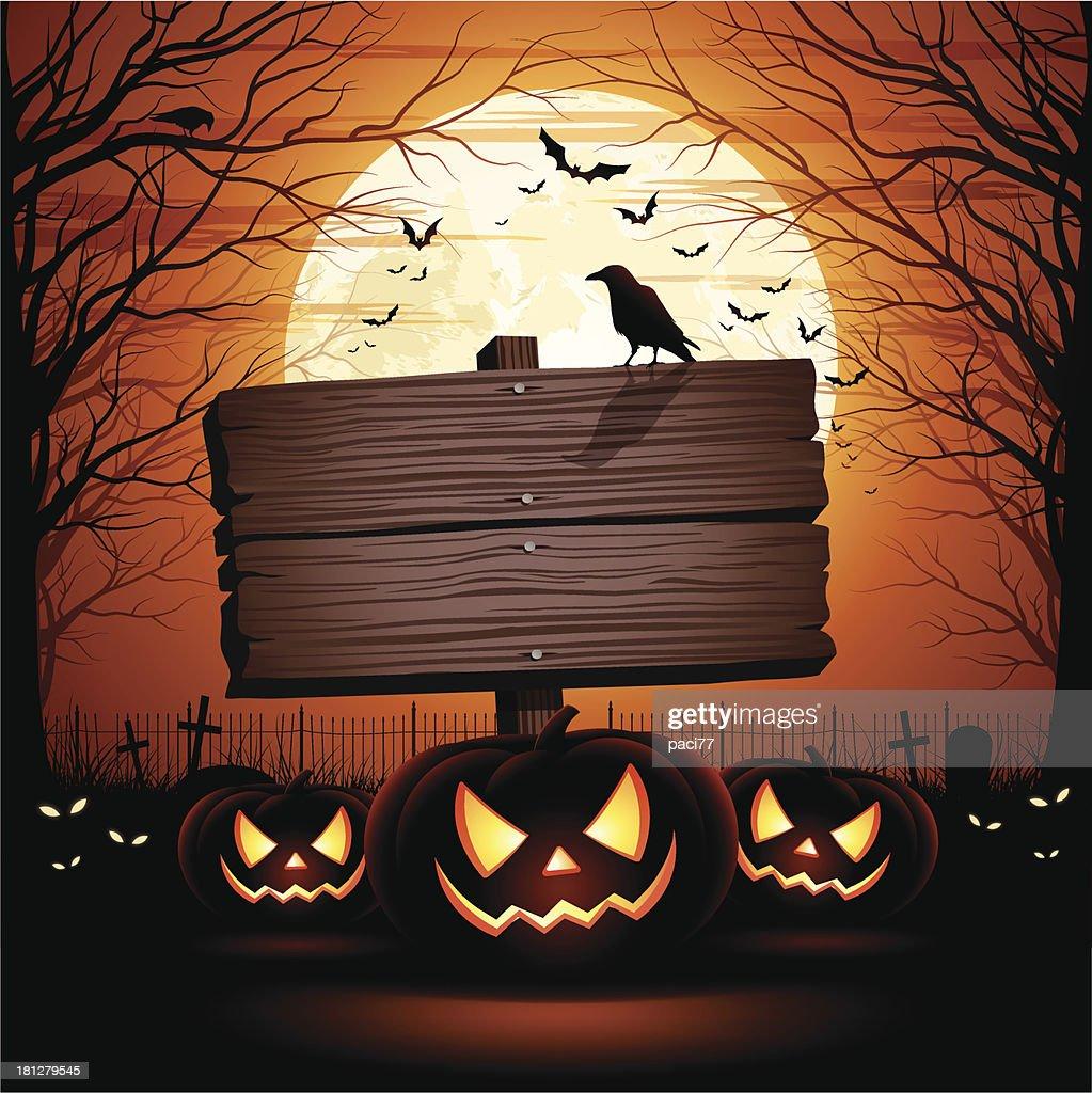 halloween wooden sign vector art getty images rh gettyimages com Halloween Witch Vector Halloween Vector Graphics