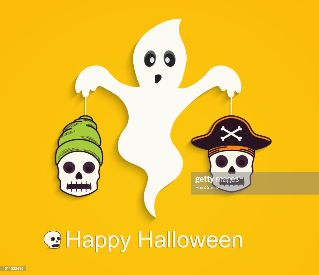 Halloween yellow background with scary ghost and skulls.