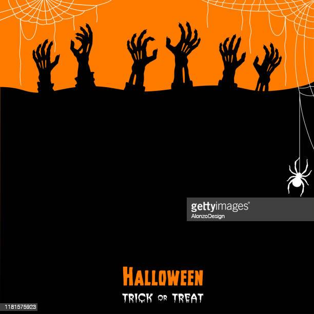 halloween zombie hands. trick or treat. - halloween scary stock illustrations