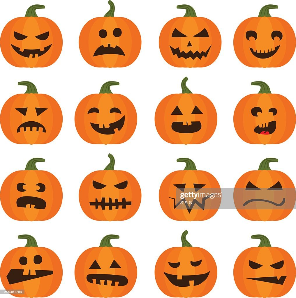 Halloweens pumpkin icons set
