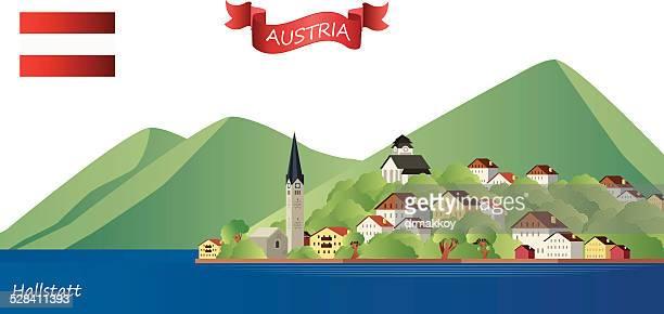 illustrations, cliparts, dessins animés et icônes de hallstatt - village