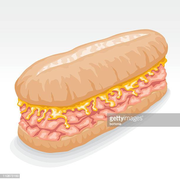 ham and cheese melt submarine sandwich - cheddar cheese stock illustrations, clip art, cartoons, & icons