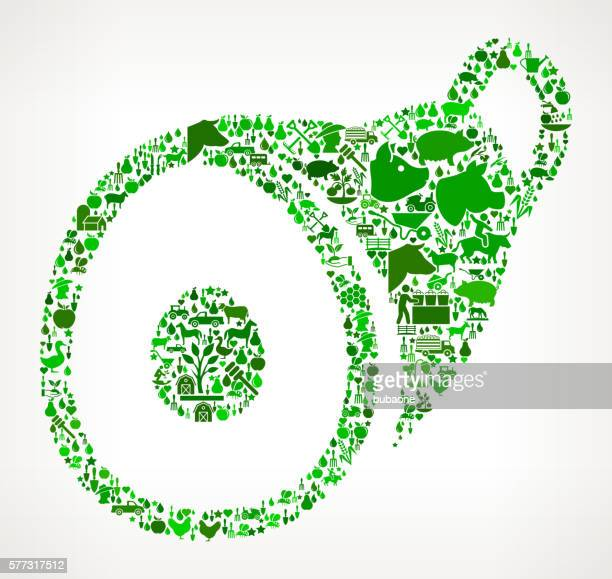 Ham Farming and Agriculture Green Icon Pattern