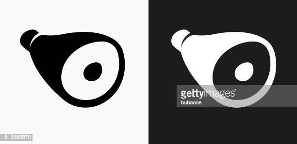 Ham Icon on Black and White Vector Backgrounds