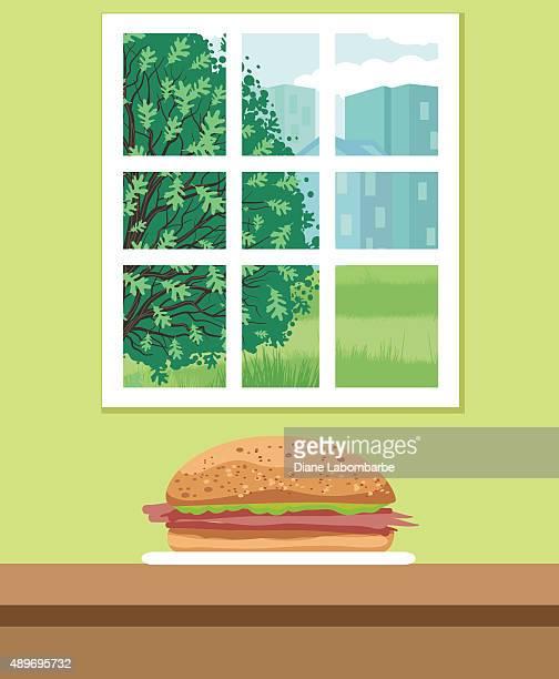 Ham Sandwich On A Bun Sitting On A Counter