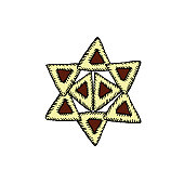 Hamantaschen. Cakes with poppy gomentashn on Purim. Lined in the form of a Star of David Vector illustration